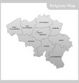 the detailed map of the belgium vector image vector image