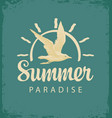 travel banner with gull and sun summer paradise vector image vector image