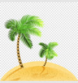 two palms on sandy coast transparent vector image vector image