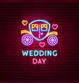 wedding day neon label vector image