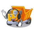 with headphone character truck dump on trash vector image