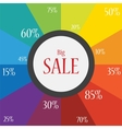 word sale on a festive and colorful background vector image vector image