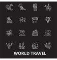 world travel editable line icons set on vector image vector image
