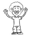 line drawing cartoon afro boy smiling - vector image