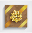 brown gift box - gold christmas and birthday bow vector image