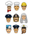 professions cartoon icon set for occupation design vector image