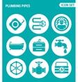 set of round icons white Plumbing pipe plumbing vector image