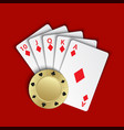 a royal flush of diamonds with gold poker chip on vector image vector image