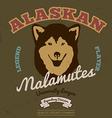 Alaskan malamute club Tee graphic vector image vector image