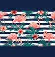 beautiful flamingo bird tropical flowers vector image