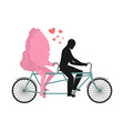 Brain on tandem Lovers of cycling Man rolls mind vector image vector image