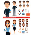 business man and business woman cartoon vector image vector image