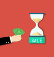 businessman want to buy time by his money vector image
