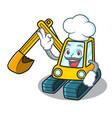 chef excavator character cartoon style vector image vector image