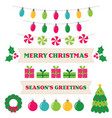 christmas design elements and decoration set vector image vector image