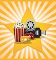 cinema pop corn tickets camera star background vector image vector image