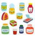 collection various tins canned goods food metal vector image