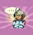 comic of angry woman astronaut vector image