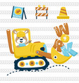 construction equipments cartoon with cute animal vector image
