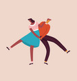 dancing characters couple card in retro 50s style vector image vector image