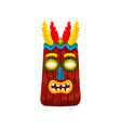dark brown african mask with feathers isolated on vector image