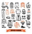 Fashion clothes hipster doodle icons set vector image