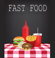 fast food on tablecloth vector image vector image