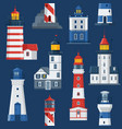 flat lighthouses and sea guide lights vector image vector image