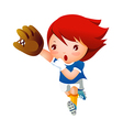 Girl playing baseball vector image vector image