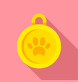 gold dog medal icon flat style vector image vector image