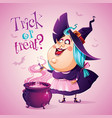 halloween witch is brewing a potion vector image vector image