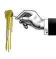 hand holding a fork with spaghetti vector image vector image