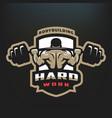 hard work bodybuilding emblem vector image