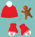 Hat mittens and cookie vector image vector image