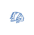 indian head line icon concept indian head flat vector image