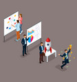 isometric businessman development startup vector image vector image