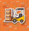 logistic forklift loading cardboard boxes cargo vector image