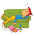 lying and sleeping on sofa vector image vector image