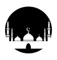 mosque cut out black circle black and white vector image