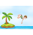palm tree girl diving on island vector image vector image