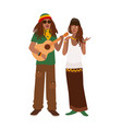 rastafari couple man wearing rastacap and playing vector image vector image