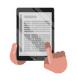 reading books on tablet vector image vector image