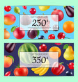 realistic fruits and berries discount vector image vector image