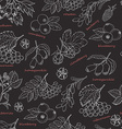 Seamless pattern with forest berries on dark vector image vector image
