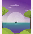 ship in sea flat vector image vector image
