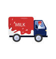 smiling man driving milk truck delivery service vector image