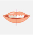 smiling mouth with cleaning teeth before and vector image vector image