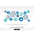 Social media network Hexagon abstract background vector image vector image