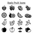 strawberry apple orange banana fruit icon set vector image vector image