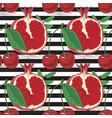 striped seamless patterncherries and pomegranates vector image vector image